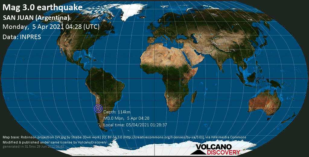Sehr schwaches Beben Stärke 3.0 - Departamento de Ullum, 35 km nordwestlich von San Juan, Departamento de Capital, San Juan, Argentinien, am Montag,  5. Apr 2021 um 01:28 Lokalzeit