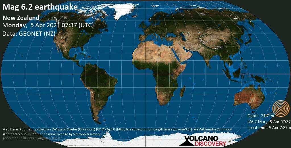 Very strong mag. 6.2 earthquake - South Pacific Ocean, 197 km northeast of Gisborne, New Zealand, on Monday, 5 Apr 2021 7:37 pm (GMT +12)
