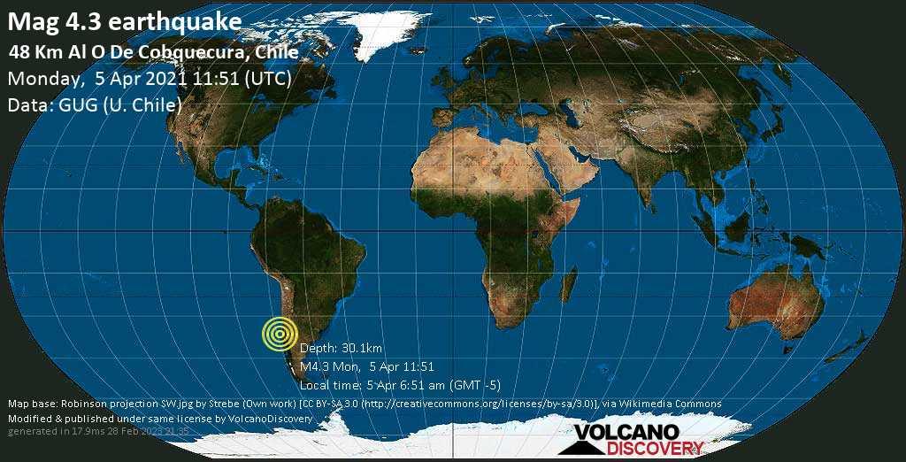 Light mag. 4.3 earthquake - South Pacific Ocean, 59 km north of Talcahuano, Provincia de Concepcion, Region del Biobio, Chile, on Monday, 5 Apr 2021 6:51 am (GMT -5)