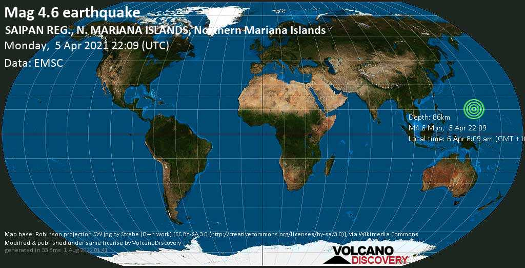 Light mag. 4.6 earthquake - North Pacific Ocean, 70 km east of Saipan, Northern Mariana Islands, on Tuesday, 6 Apr 2021 8:09 am (GMT +10)