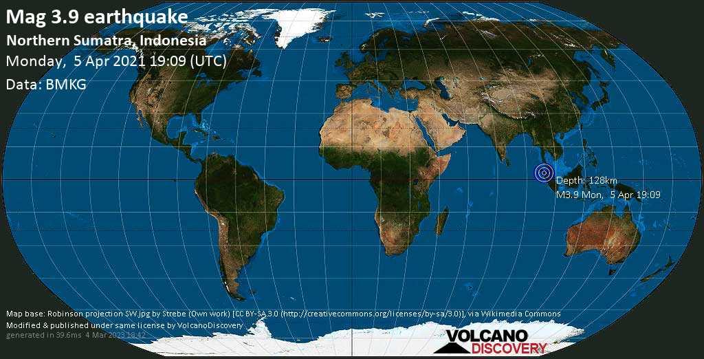 Schwaches Erdbeben Stärke 3.9 - 15 km westlich von Kabanjahe, Sumatera Utara, Indonesien, am Montag,  5. Apr 2021 um 19:09 GMT
