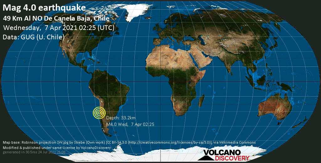 Light mag. 4.0 earthquake - South Pacific Ocean, 77 km southwest of Ovalle, Provincia de Limari, Coquimbo Region, Chile, on Tuesday, 6 Apr 2021 10:25 pm (GMT -4)