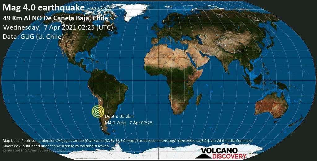 Sismo leggero mag. 4.0 - South Pacific Ocean, 77 km a sud ovest da Ovalle, Provincia de Limari, Coquimbo Region, Cile, mercoledí, 07 aprile 2021