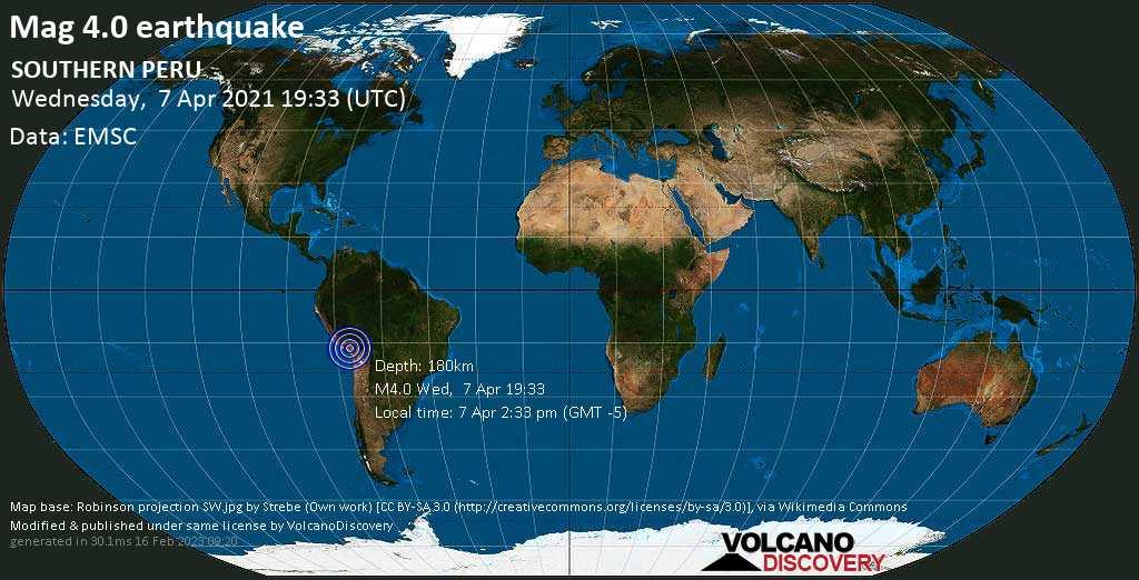 Leichtes Erdbeben der Stärke 4.0 - Provincia de General Sanchez Cerro, Departamento de Moquegua, 56 km südwestlich von Puno, Peru, am Mittwoch,  7. Apr 2021 um 14:33 Lokalzeit