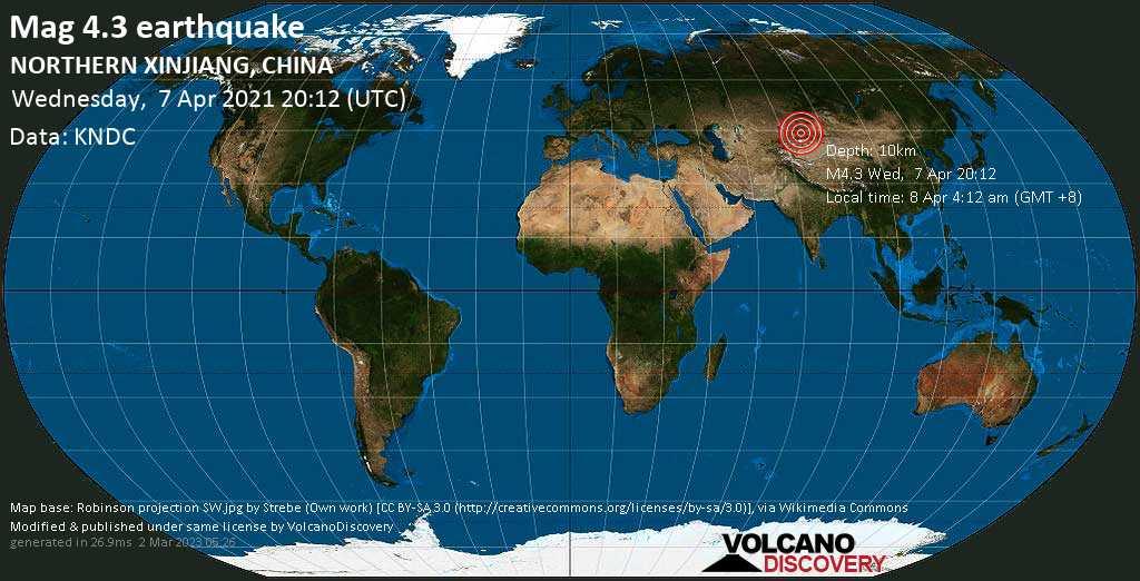 Moderates Erdbeben der Stärke 4.3 - 15 km nordöstlich von Huocheng, Ili Kazak Zizhizhou, Xinjiang, China, am Donnerstag,  8. Apr 2021 um 04:12 Lokalzeit