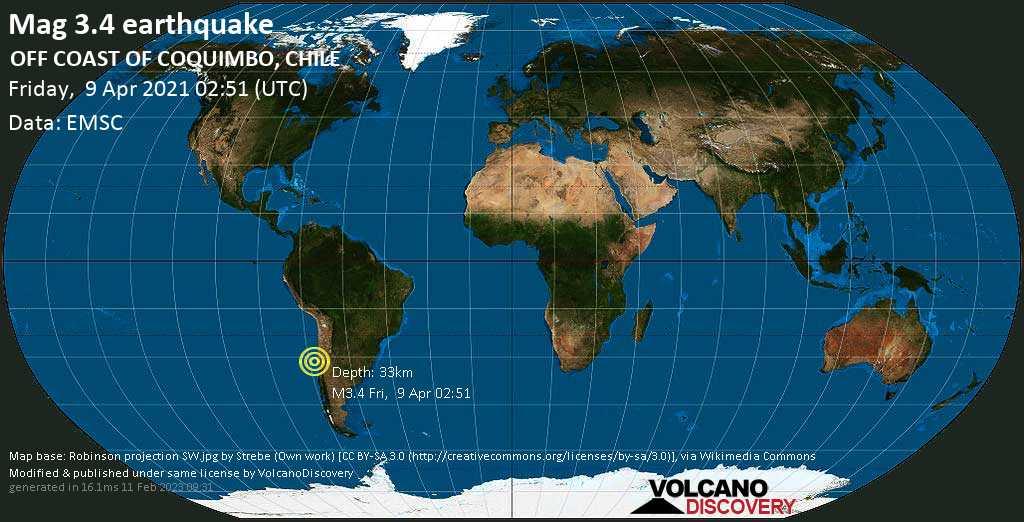 Sismo debile mag. 3.4 - South Pacific Ocean, 221 km a nord ovest da Valparaíso, Provincia de Valparaiso, Cile, venerdí, 09 aprile 2021