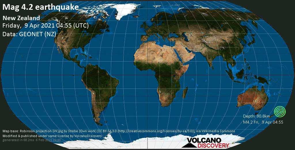 Light mag. 4.2 earthquake - South Taranaki District, 50 km north of Wanganui, Manawatu-Wanganui, New Zealand, on Friday, 9 Apr 2021 4:55 pm (GMT +12)