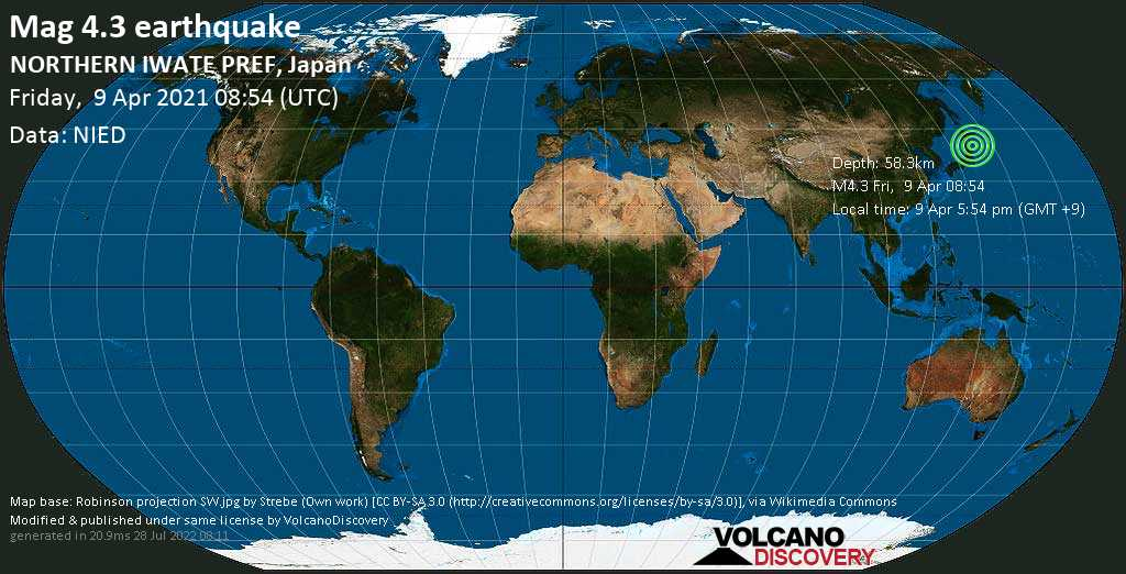 Light mag. 4.3 earthquake - Shimohei-gun, 15 km northwest of Miyako, Iwate, Japan, on Friday, 9 Apr 2021 5:54 pm (GMT +9)