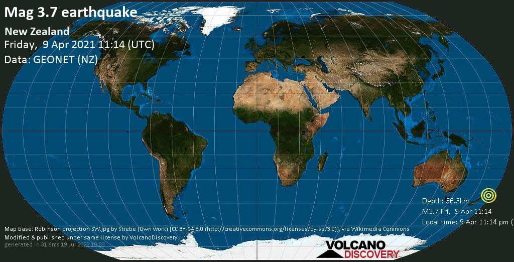Light mag. 3.7 earthquake - Manawatu District, 70 km northeast of Palmerston North, New Zealand, on 9 Apr 11:14 pm (GMT +12)