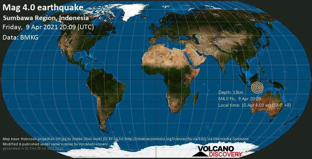 Moderate mag. 4.0 earthquake - Flores Sea, 25 km northwest of Sumbawa Besar, Indonesia, on 10 Apr 4:09 am (GMT +8)