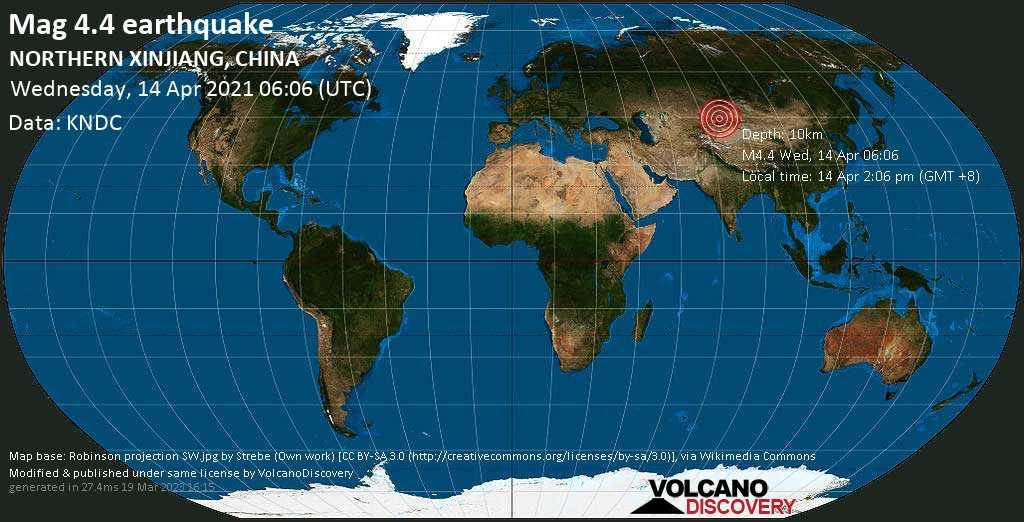 Moderates Erdbeben der Stärke 4.4 - 40 km nordöstlich von Huocheng, Ili Kazak Zizhizhou, Xinjiang, China, am Mittwoch, 14. Apr 2021 um 06:06 GMT