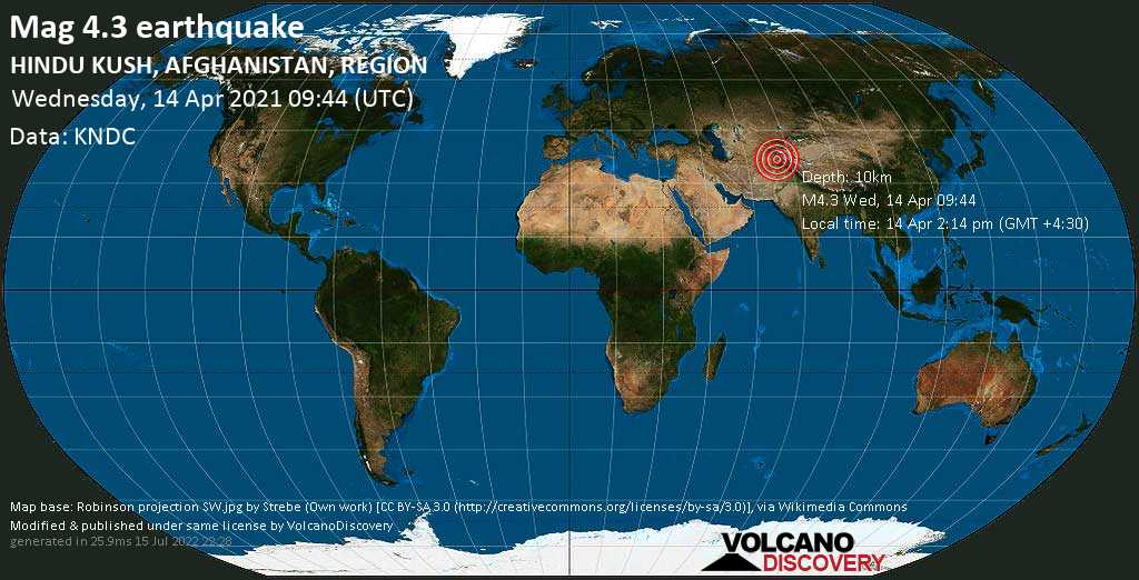 Moderates Erdbeben der Stärke 4.3 - Farkhār, 53 km südöstlich von Taloqan, Tāluqān, Takhar, Afghanistan, am Mittwoch, 14. Apr 2021 um 09:44 GMT