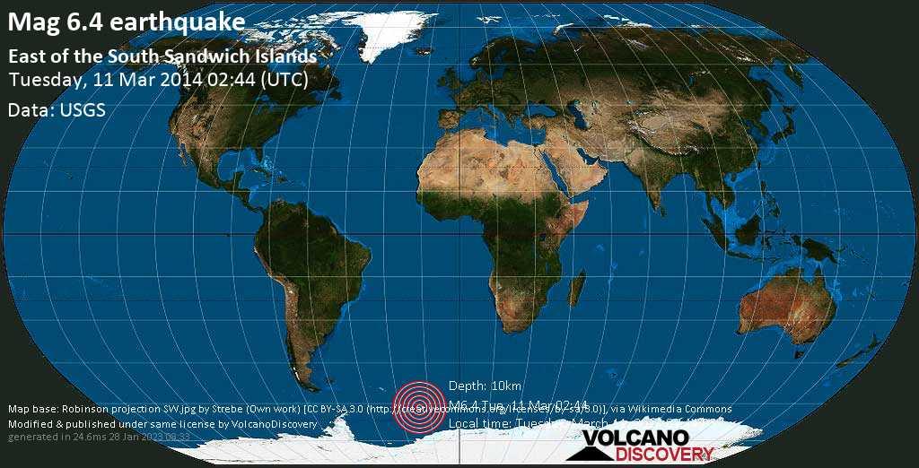 Forte terremoto magnitudine 6.4 - South Atlantic Ocean, martedì, 11 marzo 2014