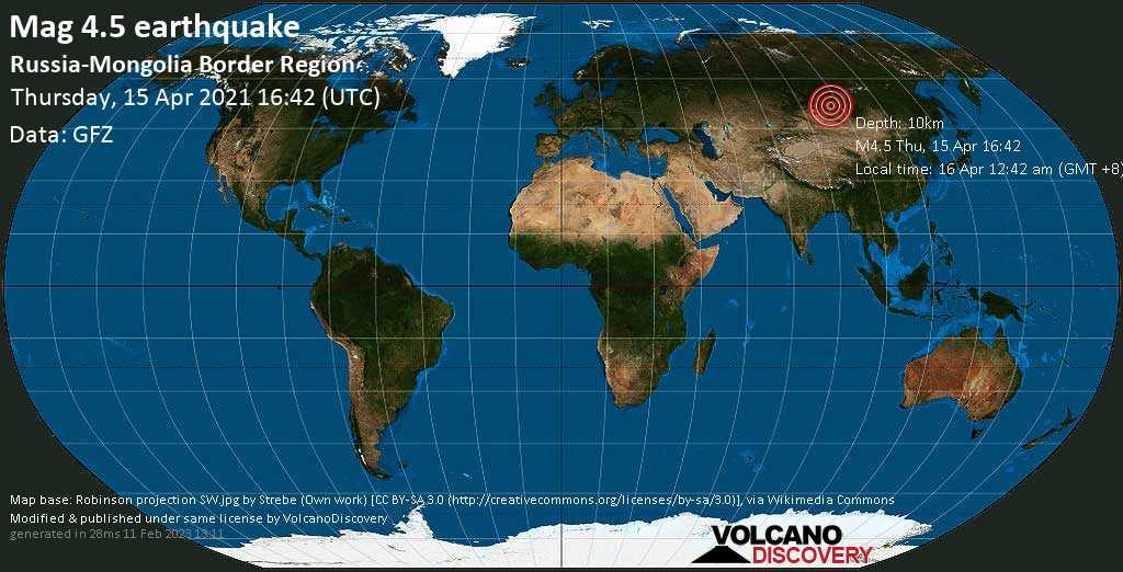 Moderates Erdbeben der Stärke 4.5 - 28 km südwestlich von Turt, Khankh, Hövsgöl Aymag, Mongolei, am Donnerstag, 15. Apr 2021 um 16:42 GMT