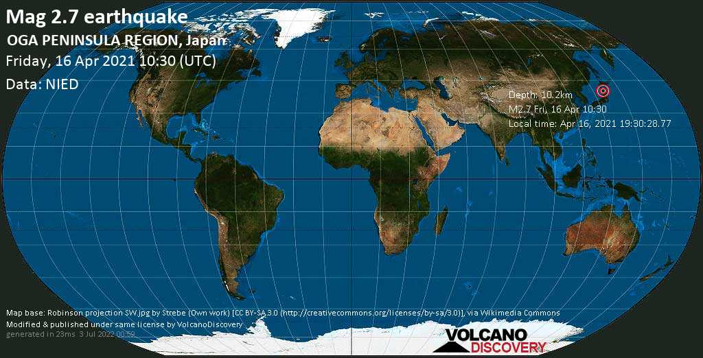 Weak mag. 2.7 earthquake - Japan Sea, 19 km west of Tennō, Katagami, Akita, Japan, on Apr 16, 2021 19:30:28.77