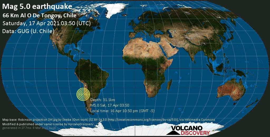 Terremoto moderato mag. 5.0 - South Pacific Ocean, 97 km a sud ovest da Coquimbo, Provincia de Elqui, Coquimbo Region, Cile, sábbato, 17 aprile 2021