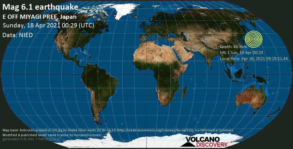 Fuerte terremoto magnitud 6.1 - North Pacific Ocean, 53 km ESE of Ishinomaki, Miyagi, Japan, Sunday, 18 Apr. 2021