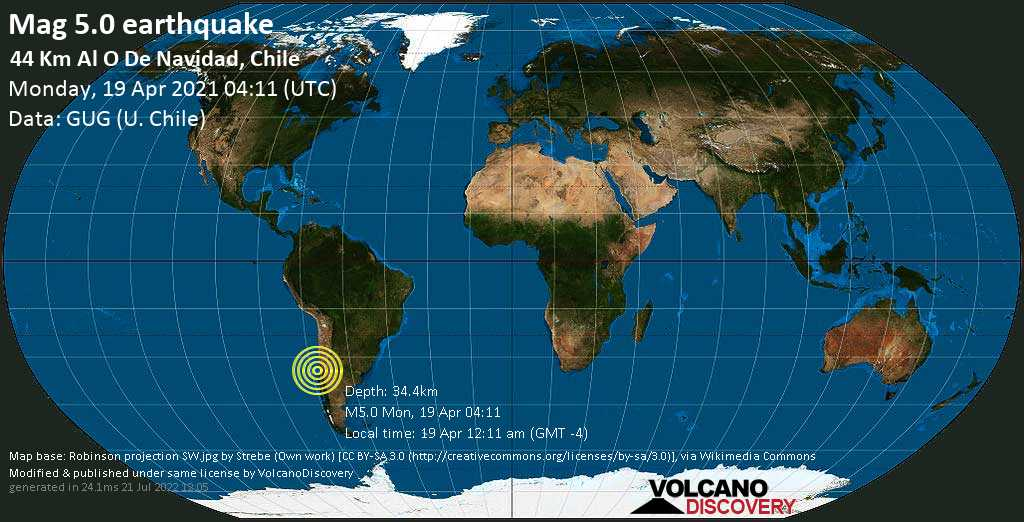 Moderate mag. 5.0 earthquake - South Pacific Ocean, 85 km southwest of San Antonio, Valparaiso, Chile, on 19 Apr 12:11 am (GMT -4)