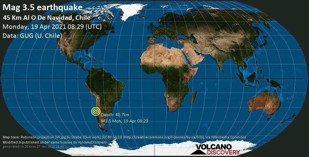 Sismo debile mag. 3.5 - South Pacific Ocean, 80 km a sud ovest da San Antonio, Valparaiso, Cile, lunedí, 19 aprile 2021