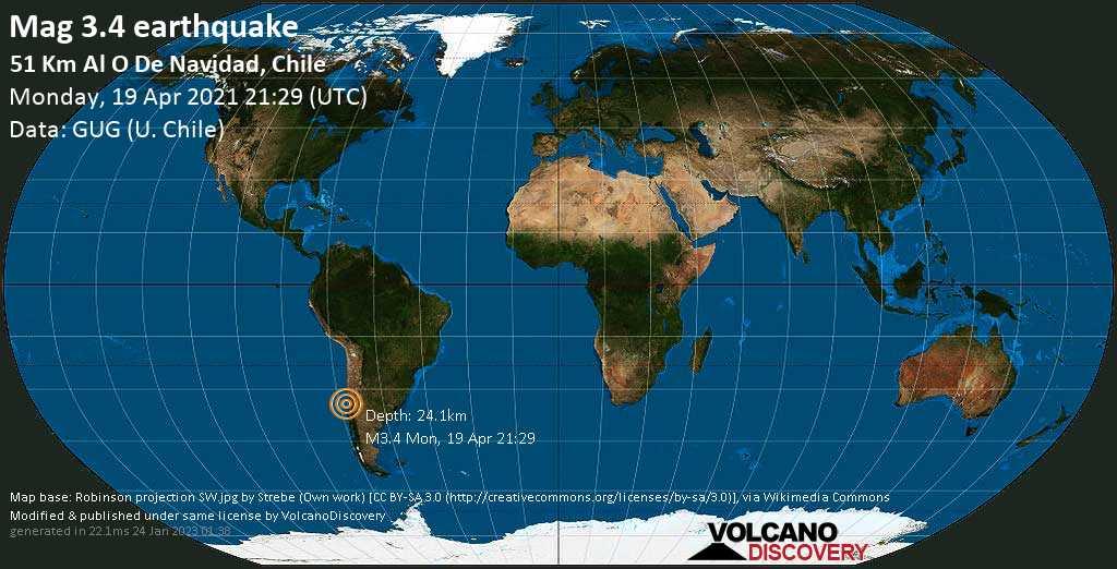 Sismo debile mag. 3.4 - South Pacific Ocean, 86 km a sud ovest da San Antonio, Region de Valparaiso, Cile, lunedí, 19 aprile 2021
