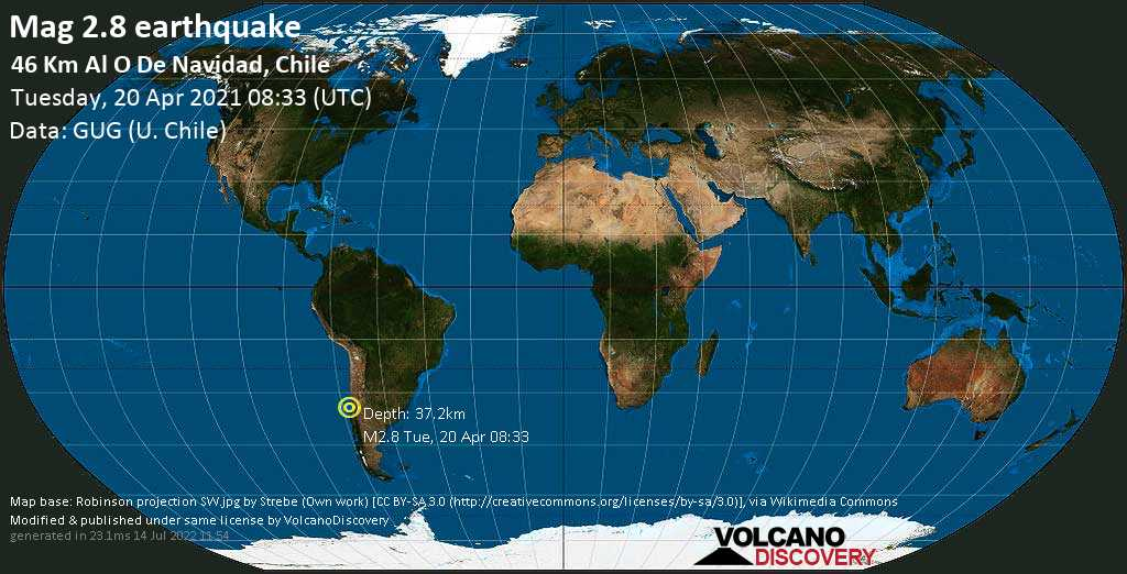 Minor mag. 2.8 earthquake - South Pacific Ocean, 79 km southwest of San Antonio, Region de Valparaiso, Chile, on Tuesday, 20 April 2021 at 08:33 (GMT)
