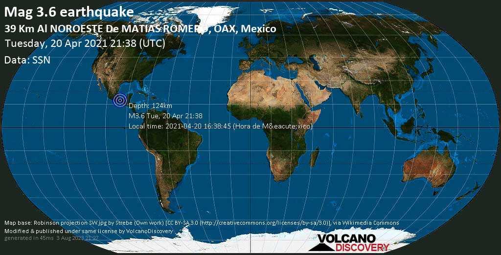 Minor mag. 3.6 earthquake - 38 km north of Matias Romero, Oaxaca, Mexico, on 2021-04-20 16:38:45 (Hora de México)