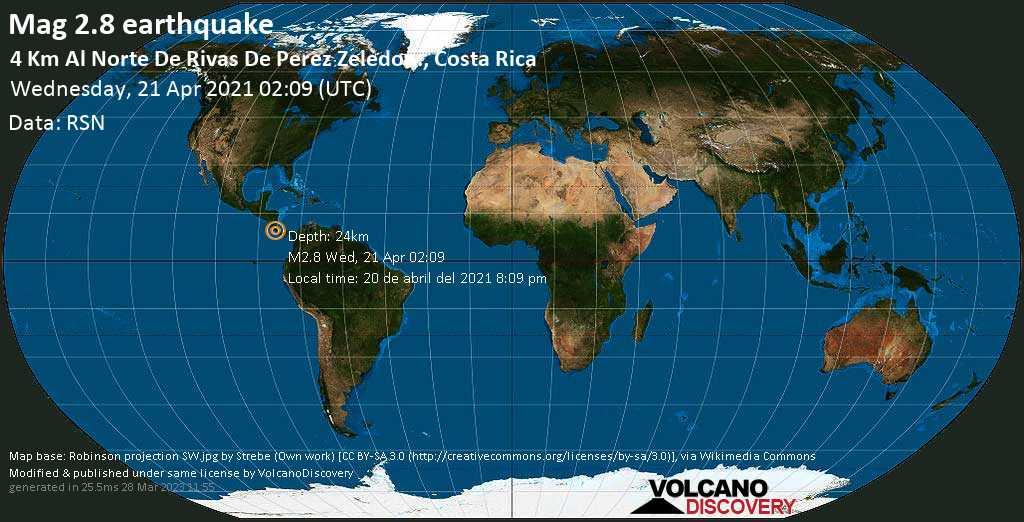 Sismo debile mag. 2.8 - 11 km a nord est da San Isidro, Costa Rica, mercoledí, 21 aprile 2021