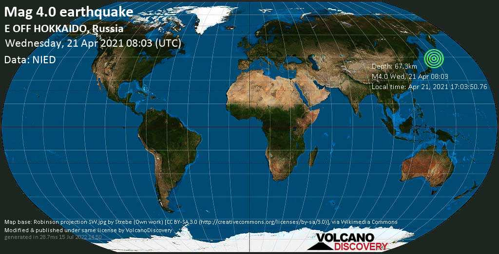 Light mag. 4.0 earthquake - North Pacific Ocean, 49 km east of Shikotan, Sakhalin Oblast, Russia, on Apr 21, 2021 17:03:50.76