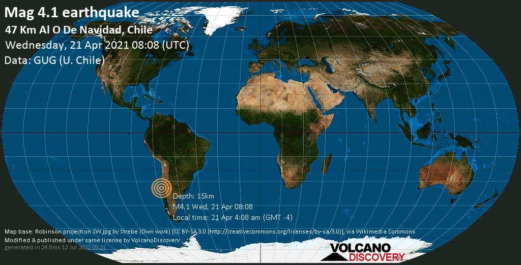 Moderates Erdbeben der Stärke 4.1 - South Pacific Ocean, 83 km südwestlich von San Antonio, Valparaiso, Chile, am Mittwoch, 21. Apr 2021 um 08:08 GMT