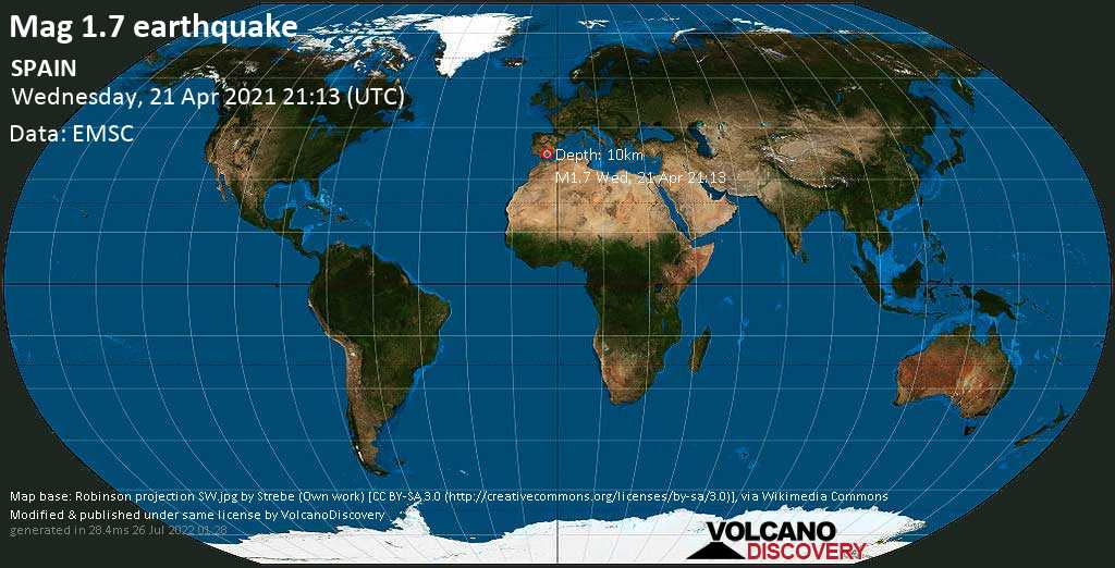 Minor mag. 1.7 earthquake - 9.4 km west of Granada, Andalusia, Spain, on Wednesday, 21 April 2021 at 21:13 (GMT)