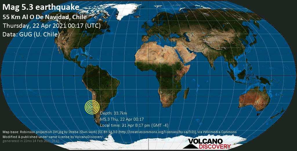 Séisme modéré mag. 5.3 - South Pacific Ocean, 88 km au sud-ouest de San Antonio, Valparaiso, Chili, 21 Apr 8:17 pm (GMT -4)
