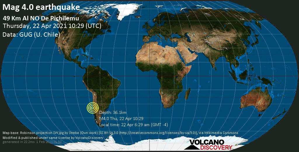 Light mag. 4.0 earthquake - South Pacific Ocean, 85 km southwest of San Antonio, Region de Valparaiso, Chile, on 22 Apr 6:29 am (GMT -4)