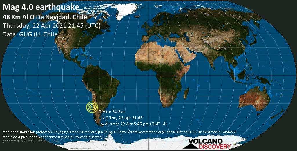 Light mag. 4.0 earthquake - South Pacific Ocean, 82 km southwest of San Antonio, Region de Valparaiso, Chile, on 22 Apr 5:45 pm (GMT -4)