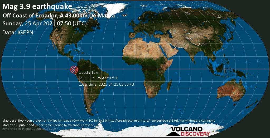 Terremoto moderado mag. 3.9 - South Pacific Ocean, 43 km WNW of Manta, Provincia de Manabi, Ecuador, Sunday, 25 Apr. 2021