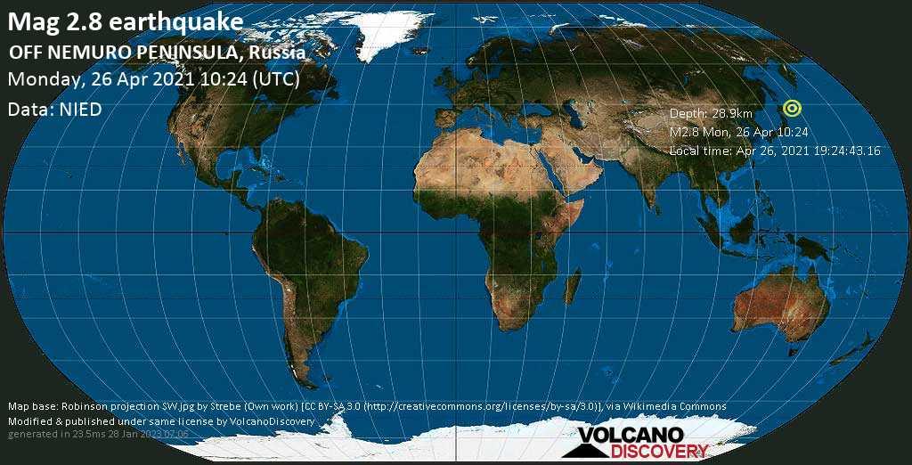 Weak mag. 2.8 earthquake - North Pacific Ocean, 55 km south of Shikotan Island, Yuzhno-Kurilsky District, Sakhalin Oblast, Russia, on Apr 26, 2021 19:24:43.16