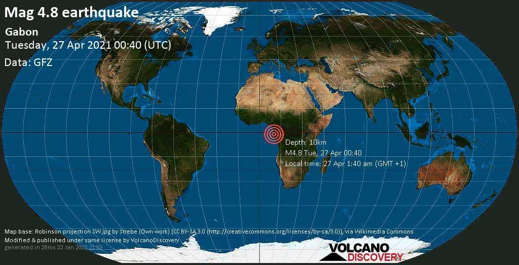Moderate mag. 4.8 earthquake - 41 km south of Lambarene, Moyen-Ogooué, Gabon, on 27 Apr 1:40 am (GMT +1)