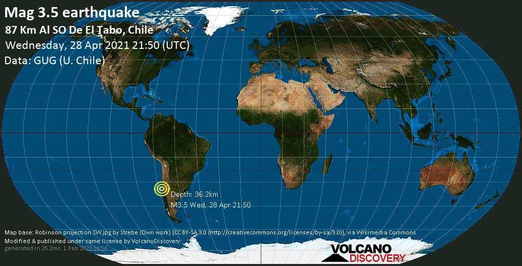 Schwaches Erdbeben Stärke 3.5 - South Pacific Ocean, 81 km südwestlich von San Antonio, Region de Valparaiso, Chile, am Mittwoch, 28. Apr 2021 um 21:50 GMT