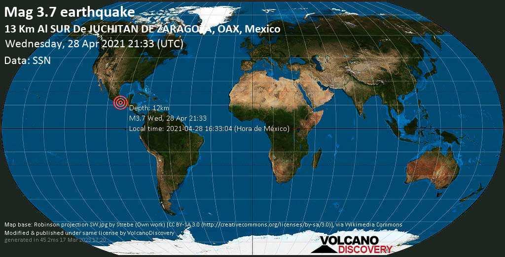 Light mag. 3.7 earthquake - Santa Maria Xadani, 13 km south of Juchitan de Zaragoza, Oaxaca, Mexico, on 2021-04-28 16:33:04 (Hora de México)