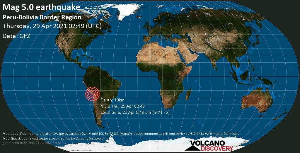 Strong mag. 5.0 earthquake - Arica Province, 1.6 km south of Arica, Region de Arica y Parinacota, Chile, on 28 Apr 9:49 pm (GMT -5)