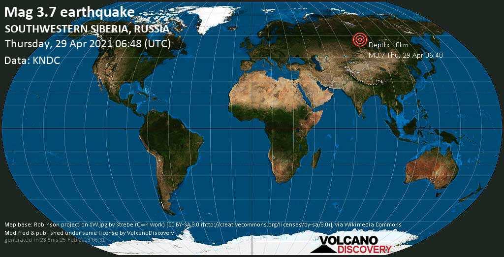 Light mag. 3.7 earthquake - 27 km north of Zheleznogorsk, Krasnoyarskiy Kray, Russia, on Thursday, 29 April 2021 at 06:48 (GMT)