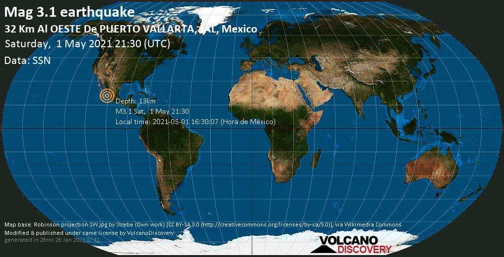 Light mag. 3.1 earthquake - North Pacific Ocean, 32 km west of Puerto Vallarta, Jalisco, Mexico, on 2021-05-01 16:30:07 (Hora de México)