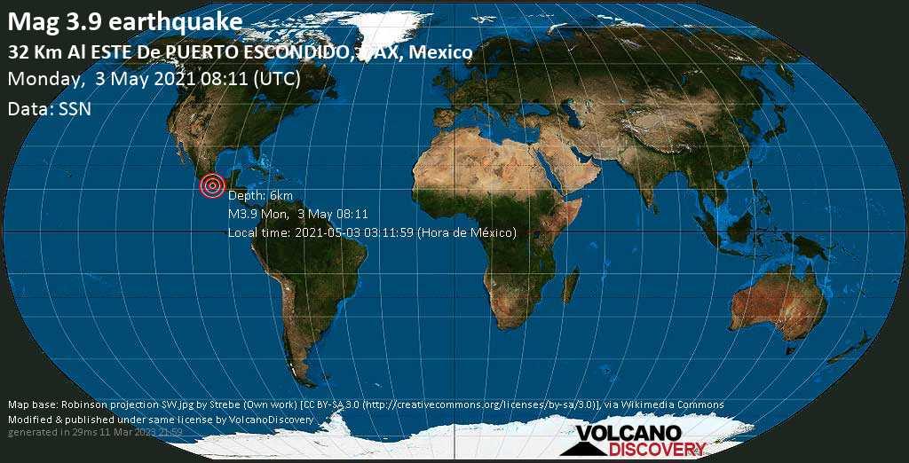 Moderate mag. 3.9 earthquake - San Bartolomé Loxicha, 34 km east of Puerto Escondido, Mexico, on 2021-05-03 03:11:59 (Hora de México)