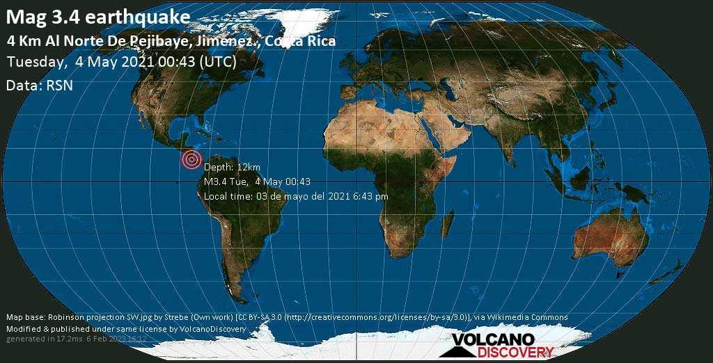 Sismo leggero mag. 3.4 - Jiménez, 6.9 km a sud da Turrialba, Provincia de Cartago, Costa Rica, martedí, 04 maggio 2021
