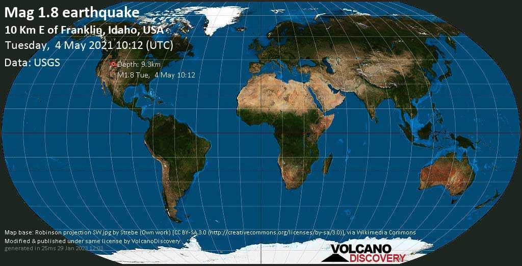 Minor mag. 1.8 earthquake - 10 Km E of Franklin, Idaho, USA, on Tuesday, 4 May 2021 at 10:12 (GMT)