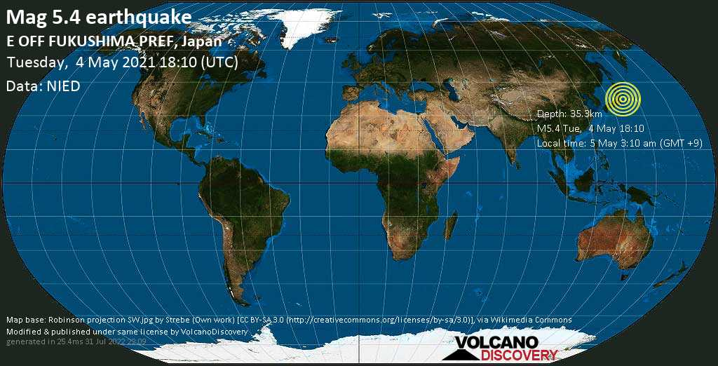 Strong mag. 5.4 earthquake - North Pacific Ocean, 73 km east of Iwaki, Fukushima, Japan, on Wednesday, 5 May 2021 3:10 am (GMT +9)