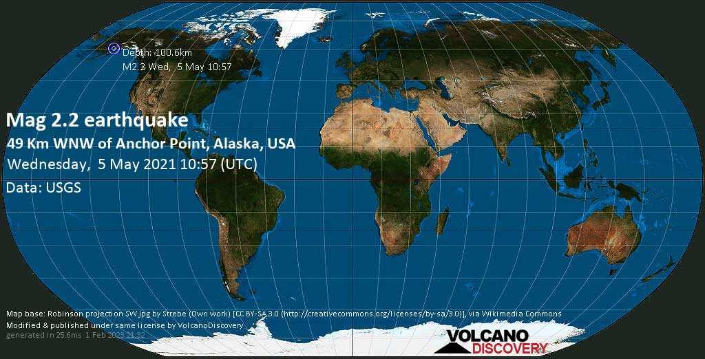 Sehr schwaches Beben Stärke 2.2 - 49 Km WNW of Anchor Point, Alaska, USA, am Mittwoch,  5. Mai 2021 um 10:57 GMT