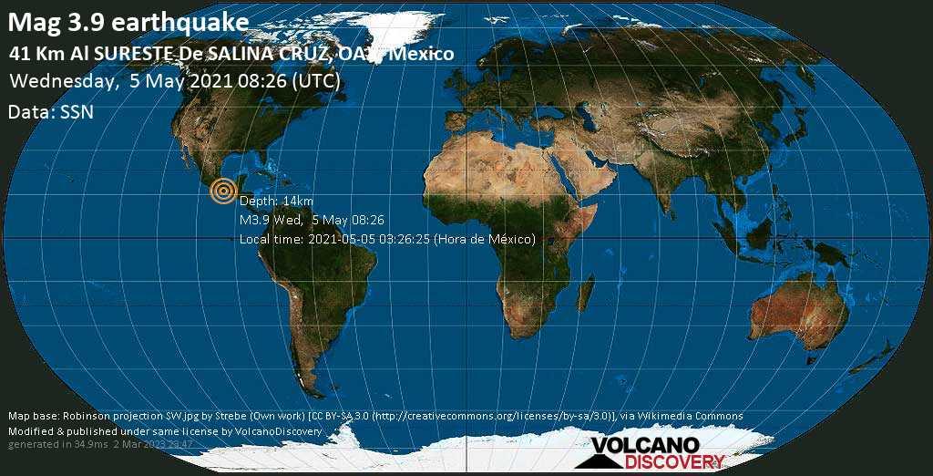 Light mag. 3.9 earthquake - North Pacific Ocean, 40 km southeast of Salina Cruz, Oaxaca, Mexico, on 2021-05-05 03:26:25 (Hora de México)