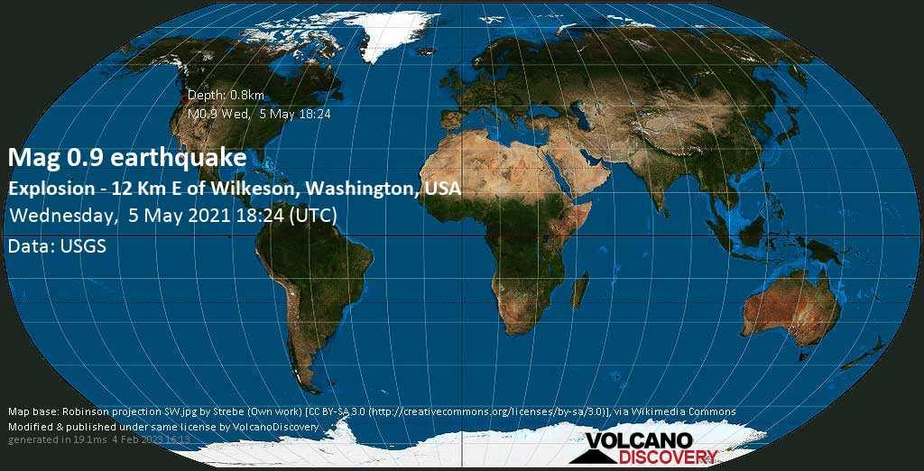 Minor mag. 0.9 earthquake - Explosion - 12 Km E of Wilkeson, Washington, USA, on Wednesday, 5 May 2021 at 18:24 (GMT)