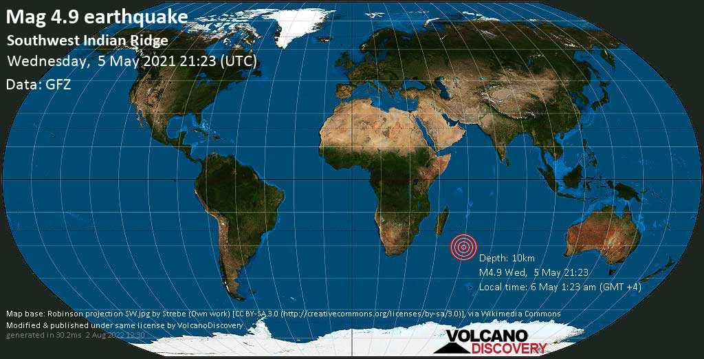 Moderate mag. 4.9 earthquake - Indian Ocean on 6 May 1:23 am (GMT +4)