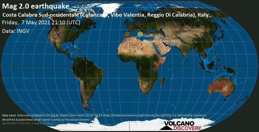 Sismo minore mag. 2.0 - Mare Tirreno, 24 km a ovest da Lamezia Terme, Italia, venerdí, 07 maggio 2021